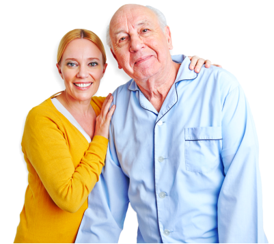 woman and elderly man smiling